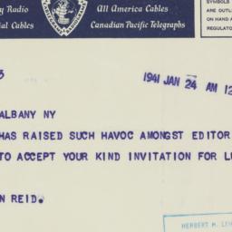 Telegram : 1941 January 24