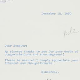 Letter : 1960 December 15
