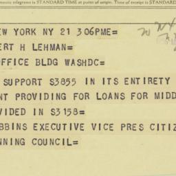 Telegram : 1956 May 21