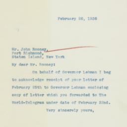 Letter : 1936 February 26