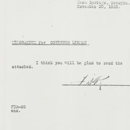 Memorandum: 1930 November 20
