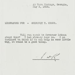 Memorandum: 1932 May 5