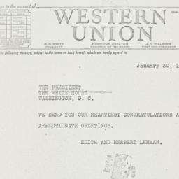 Telegram: 1940 January 30