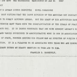Telegram: 1943 January 31