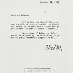 Memorandum: 1943 November 12
