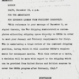 Telegram: 1944 December 17