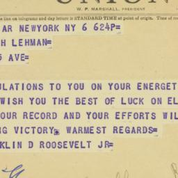 Telegram : 1950 November 6