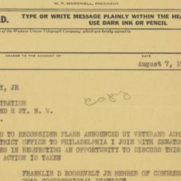 Telegram : 1951 August 7