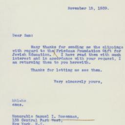 Letter : 1939 November 15