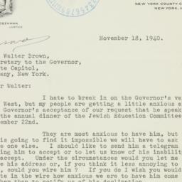 Letter : 1940 November 18