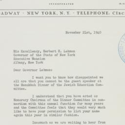 Letter : 1940 November 21
