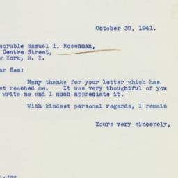 Letter : 1941 October 30