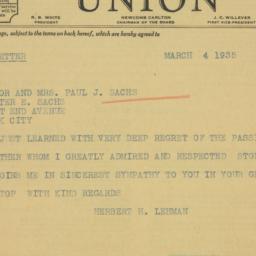 Telegram : 1935 March 4