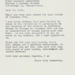 Letter : 1960 December 31