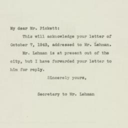 Letter : 1943 October 9