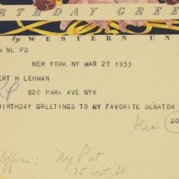 Telegram : 1953 March 27
