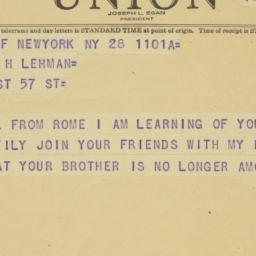 Telegram : 1949 March 28