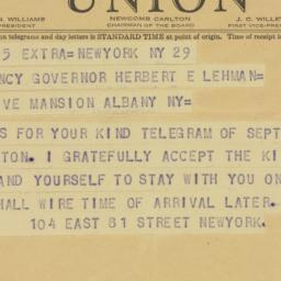 Telegram : 1942 September 30