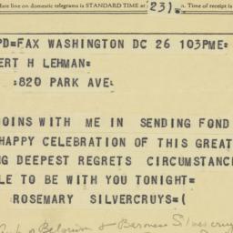 Telegram : 1958 March 26