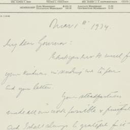 Letter: 1934 March 1