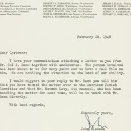 Letter : 1948 February 20