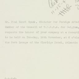 Invitation : 1943 November 15