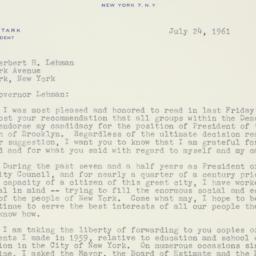 Letter : 1961 July 24
