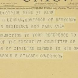 Telegram : 1941 October 31