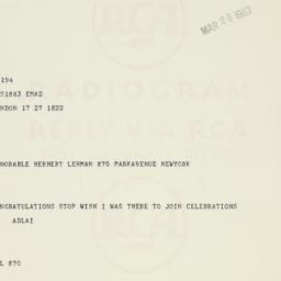 Telegram: 1963 March 28