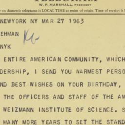 Telegram : 1963 March 27