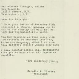 Letter : 1952 November 13