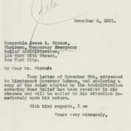 Letter : 1931 November 6