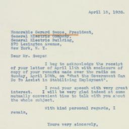 Letter : 1938 April 15