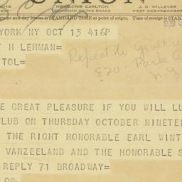 Telegram : 1939 October 13