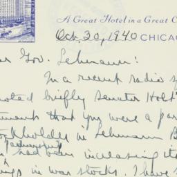 Letter : 1940 October 30