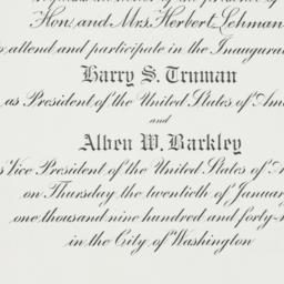 Invitation: 1949 January 20