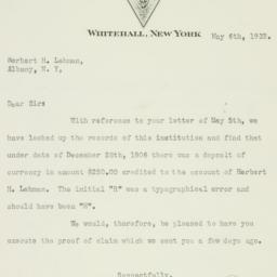 Letter : 1932 May 6