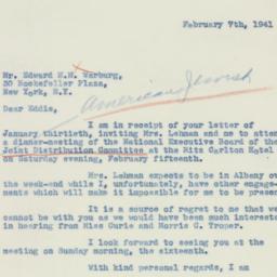 Letter : 1941 February 7