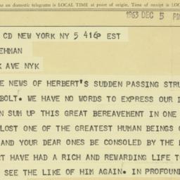 Telegram : 1963 December 5