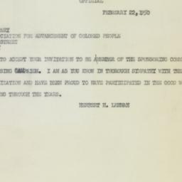 Letter : 1950 February 22