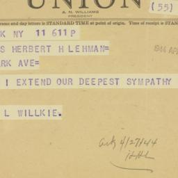 Telegram : 1944 April 11