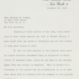 Letter : 1947 December 18