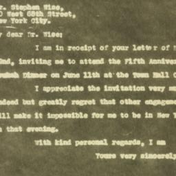 Letter : 1930 May 26