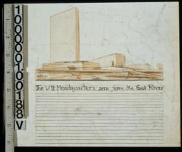 The U.N. headquarters seen from the East River perspective sketch