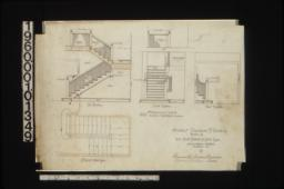 1/2 in. scale details of staircase -- east elevation\, south elevation\, west elevation\, plan of staircase :11.