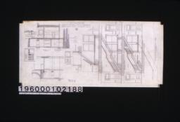 "Section showing new arrangement of stairs; detail drawing of sidewalk construction; section ""C-C"" through sidewalk and front of basement and first story; elevation of west end of elevator entrance; section ""B-B' through basement and first story; elevation of vestibule doors : No. 9."