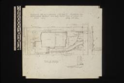 "Plan of grounds, section of grade at ""A""-""B"" looking west, elevation of grade looking north from house : Sheet no. 1,"