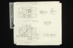 Second floor plan\, first floor plan; interior elevations -- hall-south end and west side\, living room-west side\, dining room-east side and west side : Sheet no.2\,