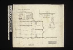 "Barn -- floor plan\, 1/2 in. scale detail of mangers\, elevation of box stalls from passage\, elevation of batten doors in 2 sections\, section at ""A-A""."