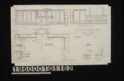 1 inch scale details of bookcases in library -- elevation of west side\, elevation ... north side\, vertical section on center line\, plan\, oak seat in end elevation and section :No. 69.